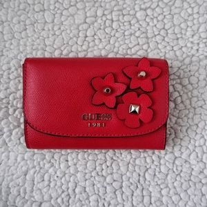 Red Faux Leather Wallet by Guess